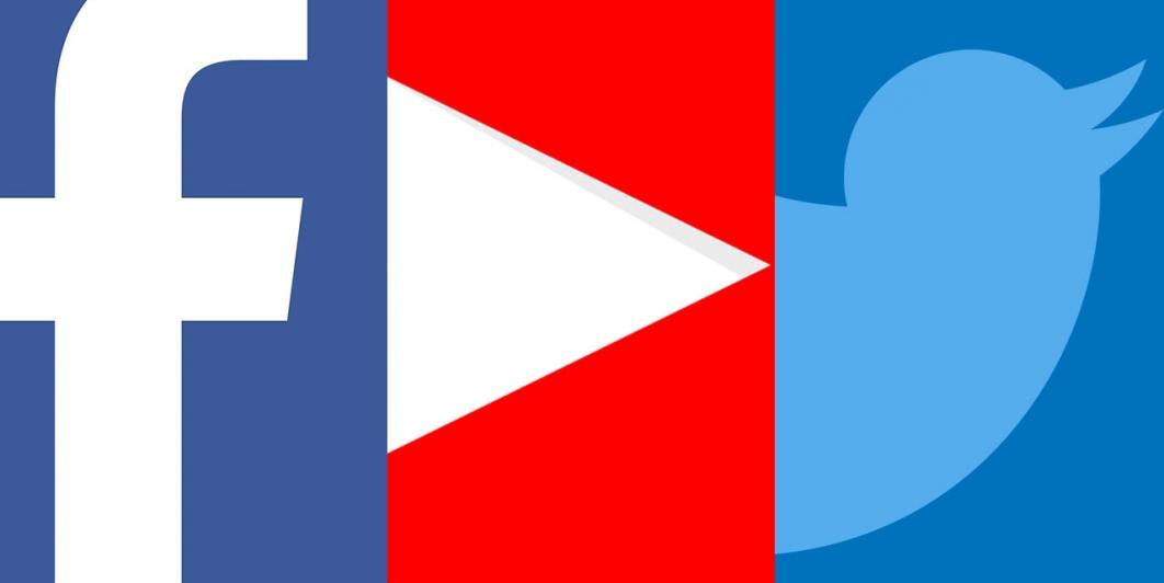 Logotipos de Facebook, Twitter y YouTube.