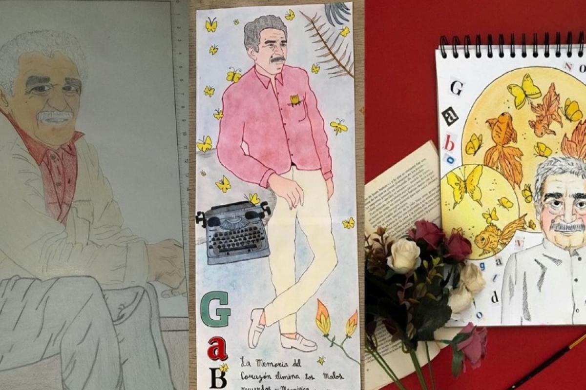 Dibujos de Gabriel García Márquez realizados por niños, niñas y adolescentes de Colombia.