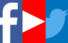 Logotipos de Facebook, Twitter y YouTube.