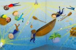 Collage basado en el cuento 'La luz es como el agua', resultado de una de las actividades propuestas en la Institución Educativa Sigmund Freud, de Cartagena.
